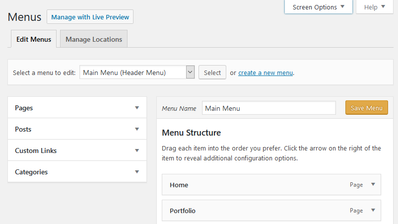 WordPress Appearance Options: Menus