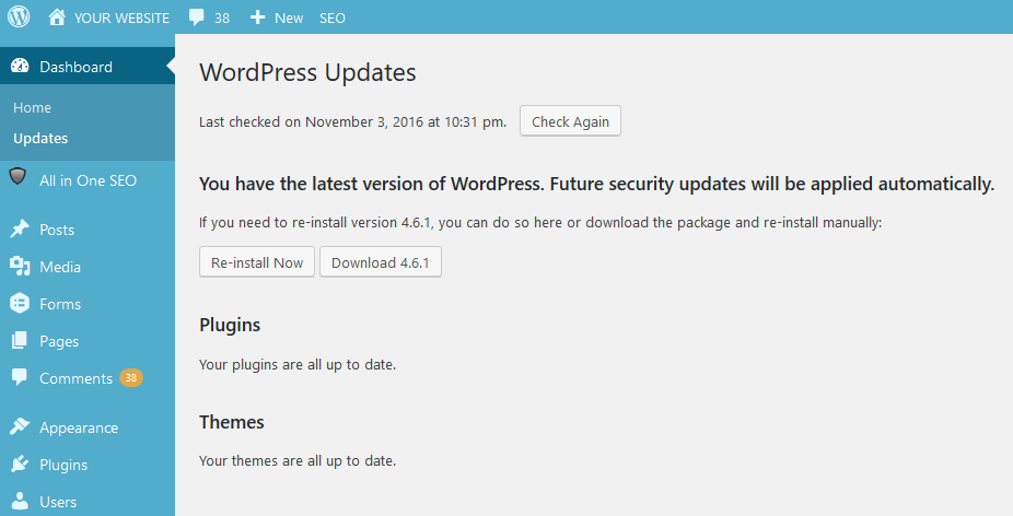 Bellingham WordPress Updates: Screenshot of updates having been applied