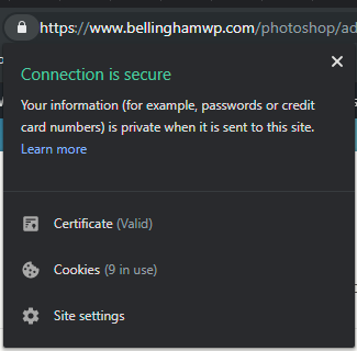 Google Chrome Connection is Secure